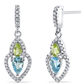 Oravo Sterling Silver 1 1/2ct TGW Swiss Blue Topaz and Peridot Earrings