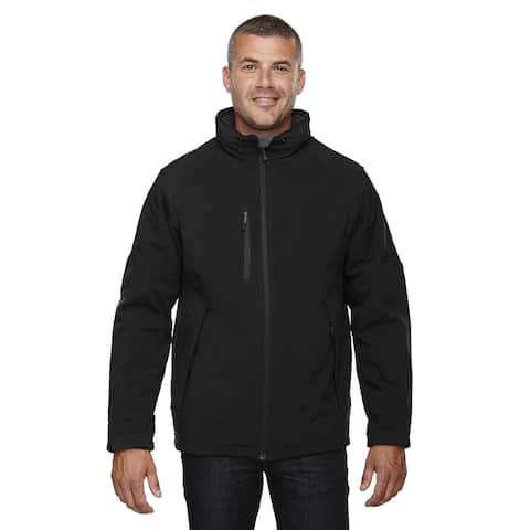 Glacier Insulated Three-Layer Fleece Bonded Soft Shell Men's Big and Tall With Detachable Hood Black 703 Jacket