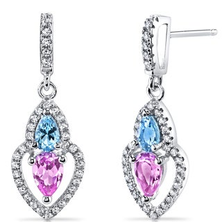 Oravo Sterling Silver 1 1/2ct TGW Created Pink Sapphire and Swiss Blue Topaz Earrings