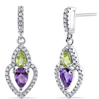 Oravo Sterling Silver 1ct TGW Amethyst and Peridot Earrings