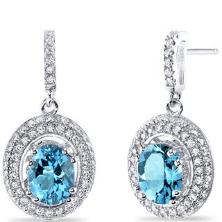Oravo Sterling Silver 3ct TGW Swiss Blue Topaz Earrings