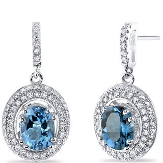 Oravo Sterling Silver 3ct TGW London Blue Topaz Earrings