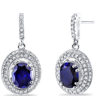 Oravo Sterling Silver 3 1/2ct TGW Created Sapphire Earrings
