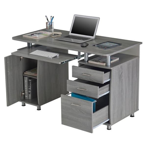 Shop Modern Designs Grey MDF Multifunctional Office Desk ...