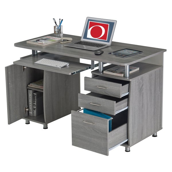 Modern Designs Grey MDF Multifunctional Office Desk With File Cabinet