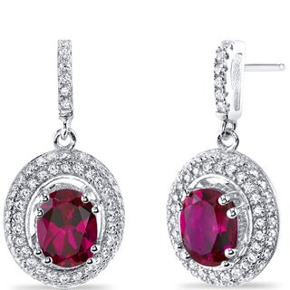 Oravo Sterling Silver 3 1/2ct TGW Created Ruby Earrings