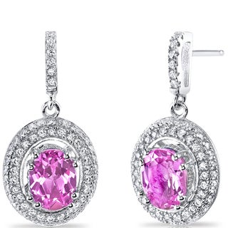 Oravo Sterling Silver 3 1/2ct TGW Created Pink Sapphire Earrings