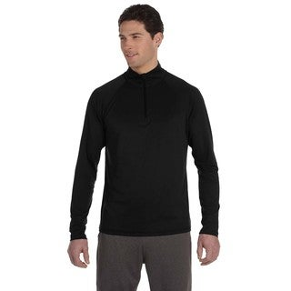 Quarter-Zip Men's Lightweight Pullover Black Sweater