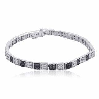 Sterling Silver 3/4ct TDW Black and White Diamond Tennis Bracelet