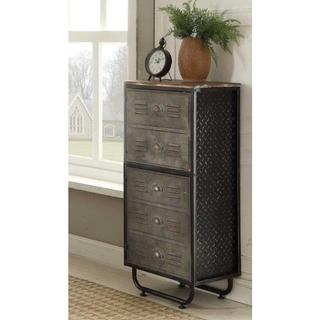 Locker Collection Industrial 2-door, 2-shelf Metal and Wood Bookcase