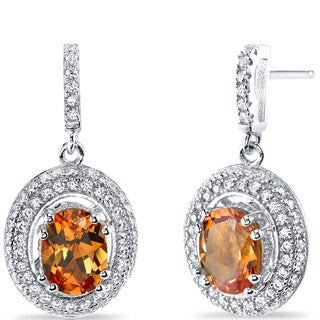 Oravo Sterling Silver 3ct TGW Created Padparadscha Sapphire Earrings