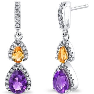 Oravo Sterling Silver 1 1/2ct TGW Amethyst and Citrine Earrings