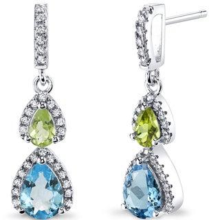 Oravo Sterling Silver 2ct TGW Swiss Blue Topaz and Peridot Earrings