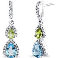 Oravo Sterling Silver 2ct TGW Swiss Blue Topaz and Peridot Earrings