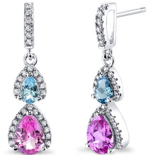 Oravo Sterling Silver 2 1/2ct TGW Created Pink Sapphire Earrings