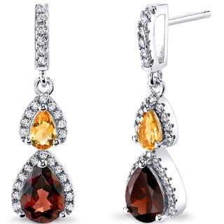 Oravo Sterling Silver 2 1/2ct TGW Garnet and Citrine Earrings