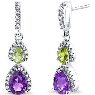 Oravo Sterling Silver 1 1/2ct TGW Amethyst and Peridot Earrings