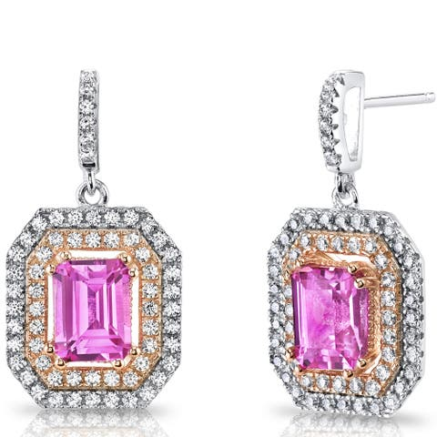 Oravo Rose Gold over Silver 4ct TGW Created Pink Sapphire Earrings