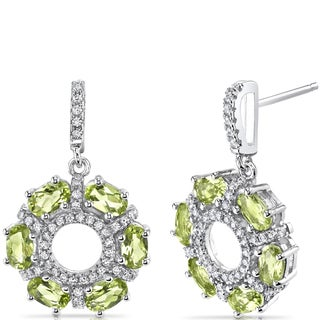 Oravo Sterling Silver 3ct TGW Peridot Oval-cut Wreath Earrings