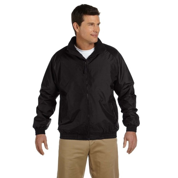 Fleece-Lined Nylon Mens Black/Black Jacket