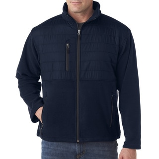 Fleece Men's Big and Tall With Quilted Yoke Overlay Navy Jacket