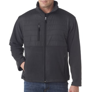 Fleece Men's Big and Tall With Quilted Yoke Overlay Charcoal Jacket
