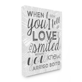When I Saw You I Fell in Love Quote Stretched Canvas Wall Art