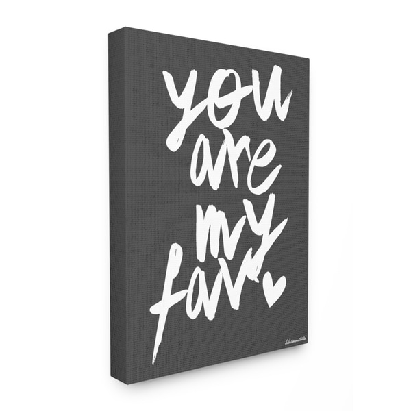 lulusimonSTUDIO 'You Are My Fav' Black and White Stretched Canvas Wall Art
