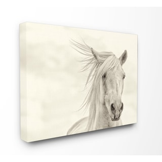 White Horse Running in the Wind Stretched Canvas Wall Art