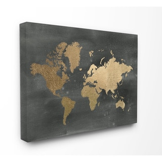 Stupell 'Black and Gold World Map' Stretched Canvas Wall Art