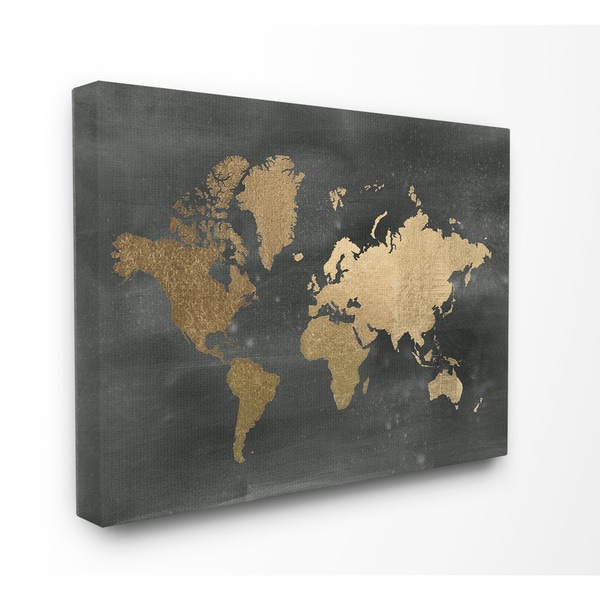 Shop Stupell \'Black and Gold World Map\' Stretched Canvas Wall Art ...