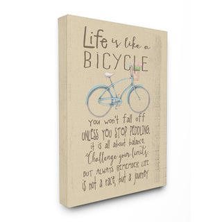 Stupell 'Life Is Like a Bicycle' Icon Inspirational Typography Stretched Canvas Wall Art