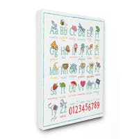 ABCs 123s Song and Icons Multicolored Stretched Canvas Wall Art