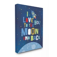 Stupell 'I Love You to the Moon and Back' Rocket Ship Stretched Canvas Wall Art