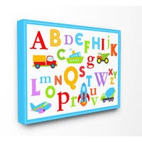 Rainbow Alphabet Transportation Icons Multicolored Stretched Canvas Wall Art