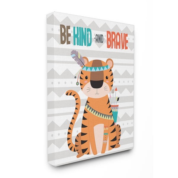 Stupell 'Be Kind and Brave' Stretched Canvas Wall Art