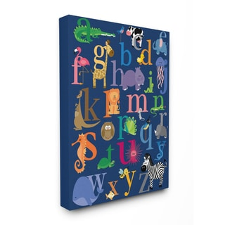 Stupell Navy Alphabet Animal Icons Stretched Canvas Wall Art