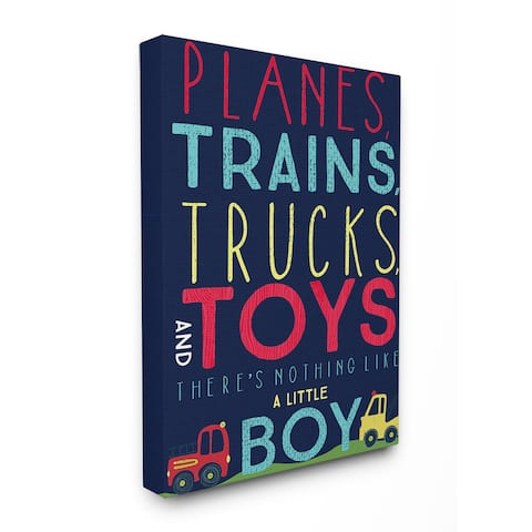 'Planes, Trains, Trucks, and Toys' Multicolored Stretched Canvas Wall Art