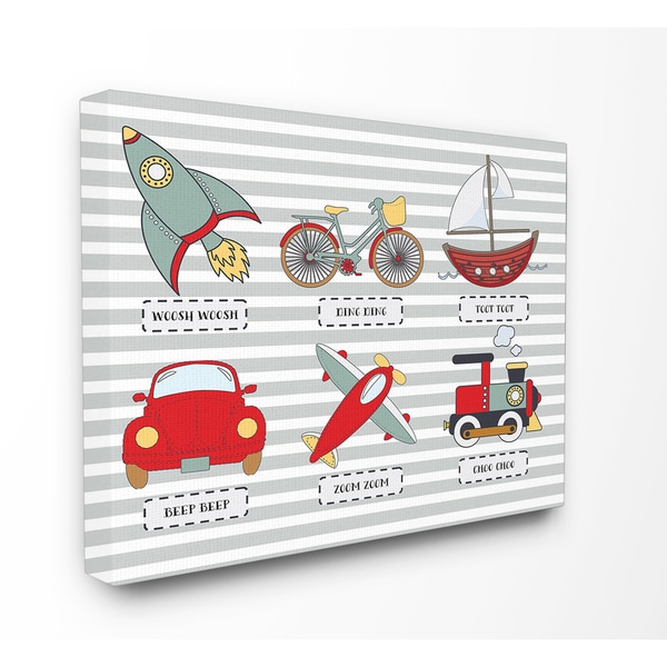Stupell 'Transportation Icons and Noises' Stretched Canvas Wall Art