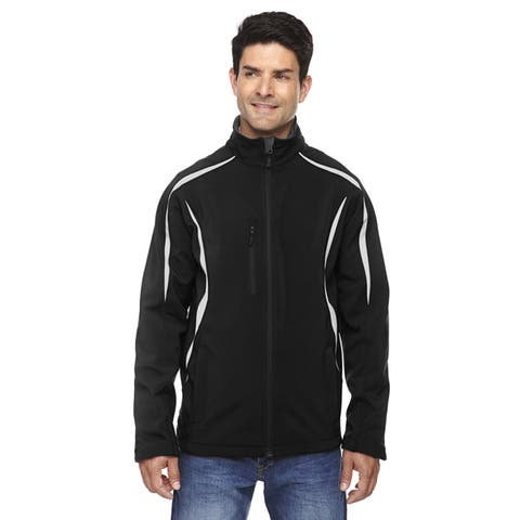 Enzo Colorblocked Three-Layer Fleece Bonded Soft Shell Men's Black 703 Jacket