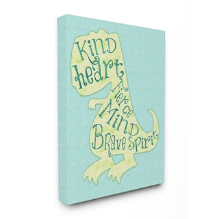'Kind Heart Dinosaur Silhouette' Stretched Canvas Wall Art