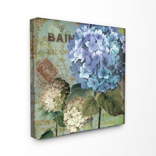 Colorful Hydrangeas with Antique French Backdrop Stretched Canvas Wall Art