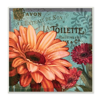 Stupell 'Colorful Daisies With Antique French Backdrop' Wall Plaque Art on Wood