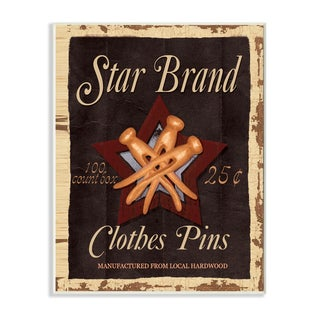 'Star Brand Clothes Pins' Multicolored MDF Wood Vintage-style Wall Plaque Art