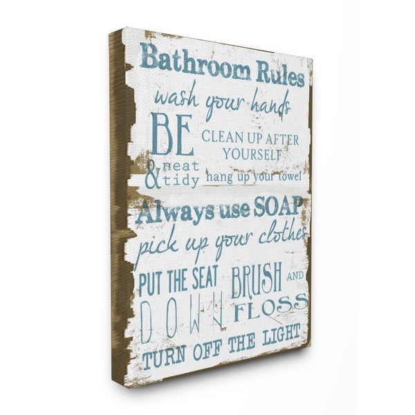 Perfect U0026#x27;Bathroom Rulesu0026#x27; Brown And Blue Stretched Canvas Wall Art