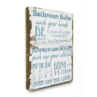 'Bathroom Rules' Brown and Blue Stretched Canvas Wall Art