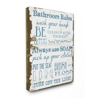 'Bathroom Rules' Brown and Blue Stretched Canvas Wall Art - 16 x 20