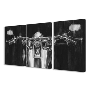 Stupell 'Black and White Classic Motorcycle' Triptych Stretched Canvas Wall Art Set