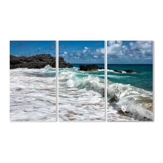 Breaking Waves Coastal Scene Multicolored Wood Triptych Wall Plaque Art Set