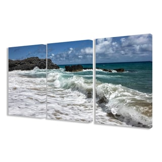 Stupell 'Breaking Waves Coastal Scene' Triptych Stretched Canvas Wall Art